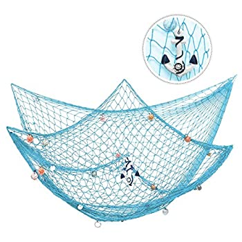 king do way 79inch x 59inch Mediterranean Style Fishing Nets with Sea Shells and Anchor Decorative Background Wall Bar for Home Decoration  Green
