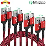 Micro USBケーブル PS4充電ケーブル 「4本セット 0.3m/1m/2m/2m」 MSOVA 【QC3.0急速充電】 高耐久ナイロン編み Android マイクロusb 充電ケーブル Xperia PS4 Pro/PS4/PS3/Galaxy/Huawei および他の機器に適用可能 (赤と黒)