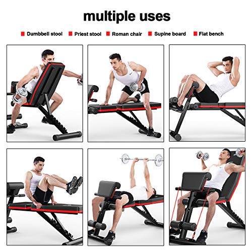 Foldable Weight Bench,Adjustable Sit Up Bench Mutifunction Use 4 in 1 Home Training Gym Weight Lifting Bench Workout Training Leg Exercise, Flat Incline Decline Multi Use, Black