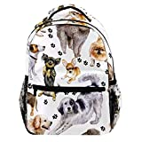 Watercolor Beautiful Thoroughbred Dogs And Canine Footprints Backpack Casual Sports Daypack Travel School Bag for Women College