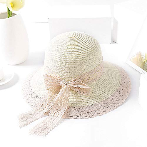 Grtodnz Damen Sonnenhut Sommer Faltbare Visier Strohhut Outdoor Urlaub Strand Hut für Frauen,D-M(Adult)