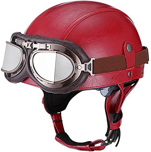 Retro Cascos De Moto Abierto Medio,ECE Homologado Protección Medio Casco con Visera Gafas para Ciclomotor Scooter Crucero Bicicleta Casco Jet