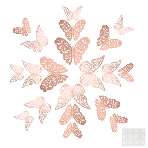 24piece Butterfly Wall Sticker,Mixed 3D Butterflies Wall Decals,Vivid Flash Wall Stickers for Home,Bedroom,Baby Room Decoration (Rose Gold)
