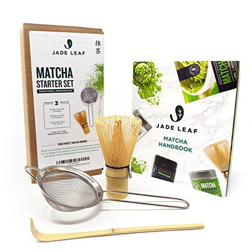 Jade Leaf - Traditional Matcha Starter Set - Bamboo Matcha Whisk (Chasen), Scoop (Chashaku), Stainless Steel Sifter, Fully Printed Handbook - Japanese Tea Set