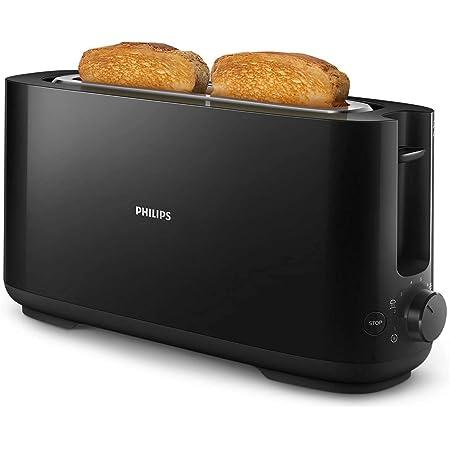 Philips HD2590/90 Grille Pains Daily Noir, 1 Fente Extra Longue, Bouton Réchauffage