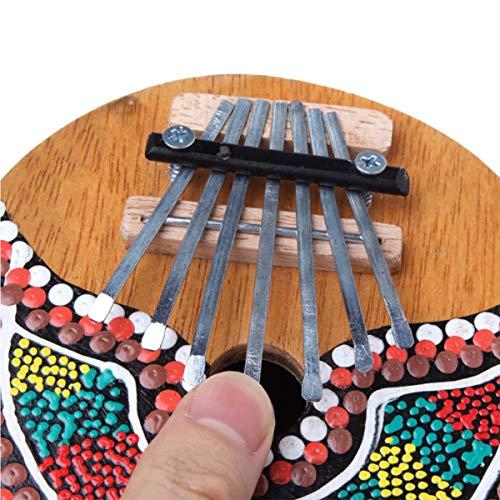 GSJDD Ungewöhnliche Musikinstrumente, Coconut Painted Thumb Piano 7 Tasten Stimmbare Tastatur Marimba Wood Musikinstrument Einfach zu bedienen (Color Send Random)