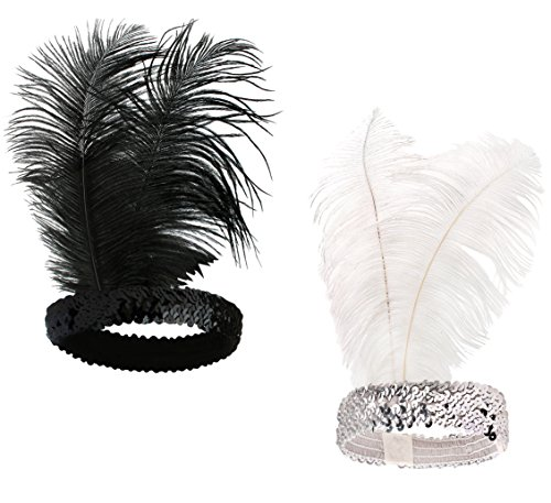 BABEYOND 1920s Flapper Headband Roaring 20s Sequined Showgirl Headpiece Great Gatsby Headband with Feather (Black+White)