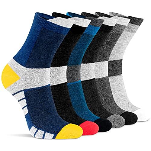 Niodora Socken Herren Damen 43-46/37-42, 6 Paar Atmungsaktive Baumwolle Lange Socken, Anti Schweiß Laufsocken für Sport Tennis Freizeit Outdoor Arbeits (43-46)