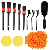 AKlamater Juego de 12 cepillos de limpieza para coches, con cepillo de alambre, guante, cepillo para llantas, almohadilla de limpieza de espuma para limpiar ruedas, motores y orificios de ventilación.