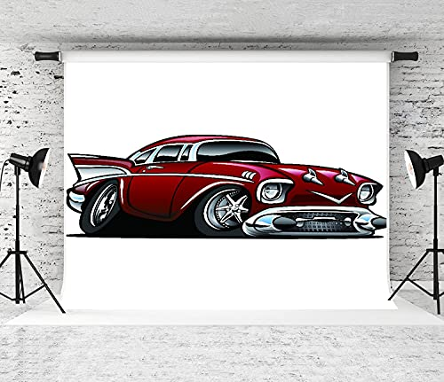 ZOANEN Photography Background,American Classic Muscle car hot Rod Cartoon,Party Decoration Banner Photo Booth Backdrop for Studio Props(7x5FT)