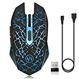 VEGCOO C12 Rechargeable Wireless Gaming Mouse Mice Silent Click Cordless Mouse 7 Smart Buttons PC Gaming Mouse Mice Advanced Technology with 2.4GHZ Up to 2400DPI (C12 Blue)