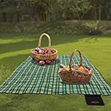 Kapler 10x10 FT Picnic Mat, Waterproof & Thicked Soft Picnic Blanket, Easy Cleaning & Portable Rug for Field Trip, Beach, Camping and Picnic Outdoors for 5-6 Person