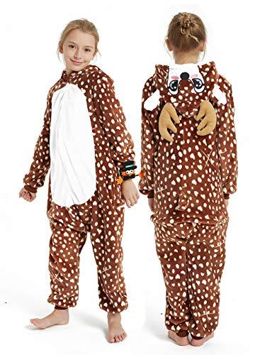 CASABACO Kid Reindeer Onesie Pajamas Deer Christmas Halloween Costume Boy Girl Animal Onepiece, Dot Deer, 140cm