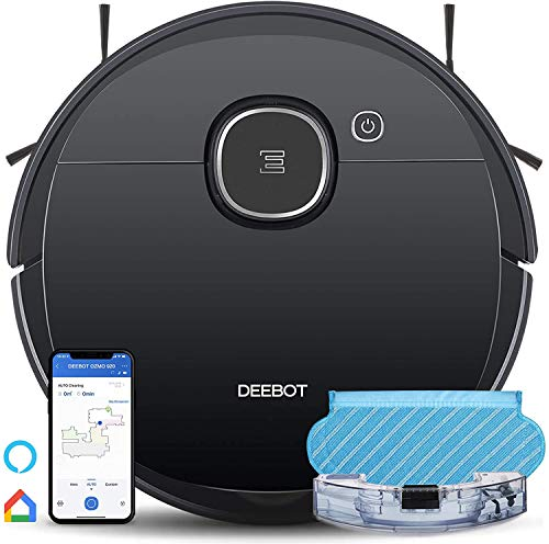 Ecovacs DEEBOT OZMO 920 2in1 Mopping Robotic Vacuum with Laser Navigation, No-Go Zones, Systematic Cleaning, Multi-Floor Mapping, Works with Alexa & App, Large, Black