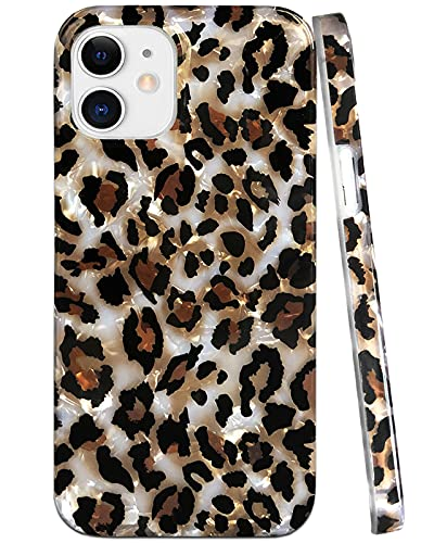 J.west Case Compatible with iPhone 12/12 Pro 6.1-inch, Luxury Sparkle Translucent Clear Leopard Cheetah Print Pearly Design Soft Silicone Slim TPU Protective Phone Case Cover for Girls Women (Bling)