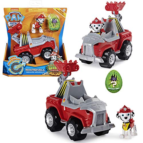 PAW PATROL Dino Rescue Vehículos   con Rev-Up, Dino Figura y Personajes, Figura:Marshall