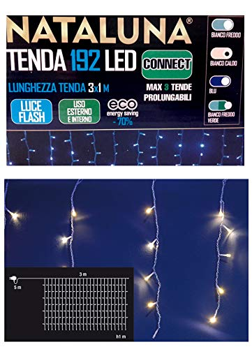 Tenda PROLUNGABILE con 192 LED Bianco Caldo da Esterno Luce Flash 3X1 MT LUCI Natale
