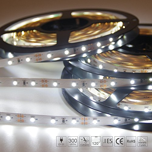 Signcomplex Tira de LED flexible 3528 SMD Cinta de LED con 3M cinta autoadhesiva 5m un carrete 12V DC (Blanco)