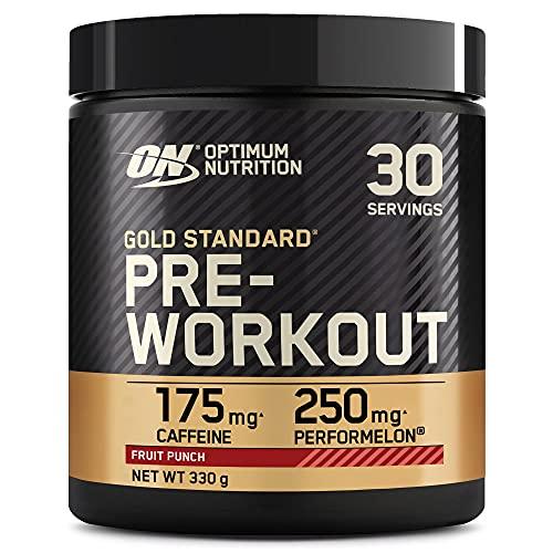 Optimum Nutrition Gold Standard Pre Workout en Polvo, Bebida Energética con Creatina Monohidratada, Beta Alanina, Cafeína y Vitamina B Complex, Fruit Punch, 30 Porciones, 330g, Embalaje Puede Variar