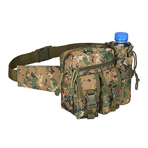 NYKKOLA Sac banane militaire étanche Molle Fanny - Porte-bouteille d'eau amovible - Sac banane tactique - Sac à dos de voyage ou de sport