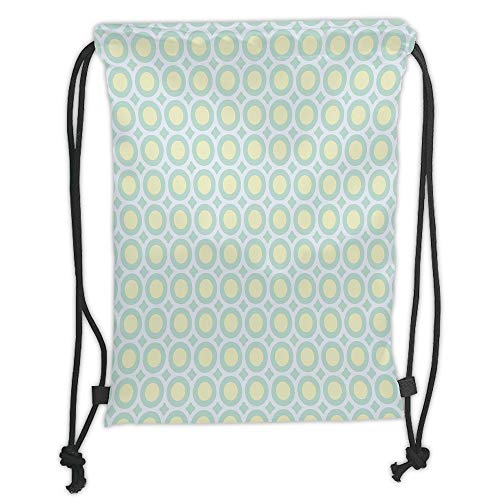 Fevthmii Drawstring Backpacks, Aqua, Retro Circles Inner Dots 60s 70s Inspired Horizontal Artwork Dekoration, Yellow Light Blue White and Seafoam Soft Satin, 5 l, Adjustable St