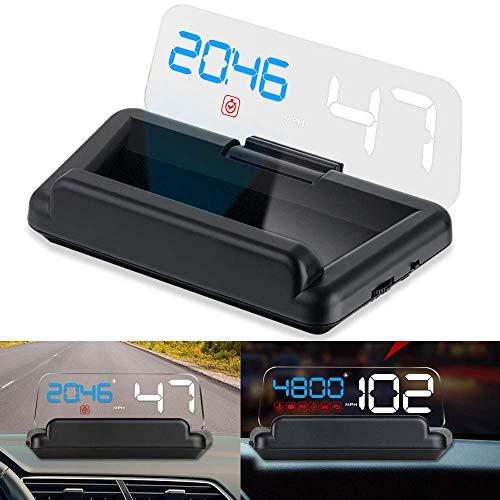 iKiKin Car Head Display Up OBD2 con Panel de reflexión Sin Doble Imagen Proyección estéreo Display Speed RPM Voltage Recordatorios multifuncionales Car HUD C500