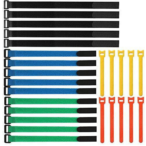 Gebildet Wiederverwendbare Klettkabelbinder Set, 25 pcs Befestigung Klett Kabelbinder, Klettverschluss Klettbänder mit Schnalle, Extrem Stark Kabelbinder mit Klettverschluss für Kabelmanagement