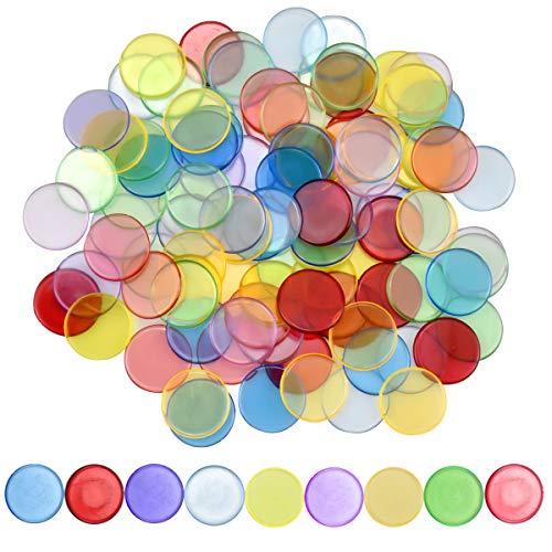 Dokpav 100 Piezas de Contador de Color Transparent, Fichas de Bingo de Plástico, Bingo Chips, Marcador de Plástico para Tarjetas de Juego de Bingo