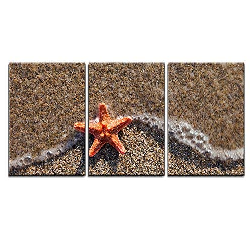 """wall26 - 3 Piece Canvas Wall Art - Summer Vacations - Starfish in Water Waves on Sea Sand Beach - Modern Home Art Stretched and Framed Ready to Hang - 16""""x24""""x3 Panels"""