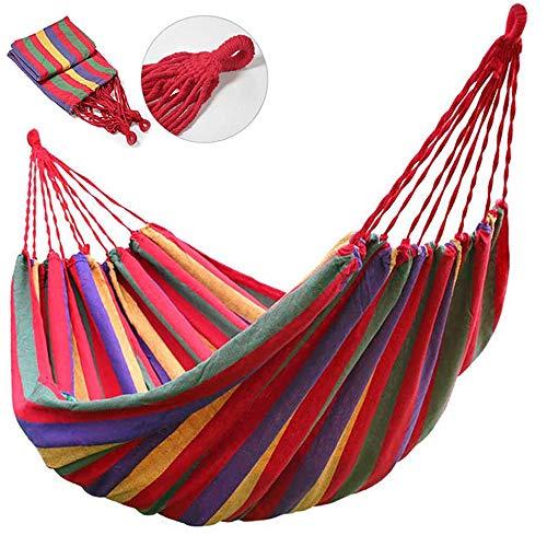 Hamaca de algodón de Lona a Rayas Adulto Capacidad de Carga, con Bolsa para Viaje Camping Jardín,A,190cm*150cm