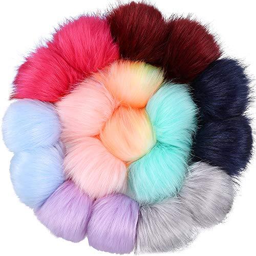 Auihiay Kunstfell-Bommeln, flauschige Pompons, mit Gummiband für Hüte, Schuhe, Schals, Taschen, Anhänger (Mix heller Farben), 18 Stück