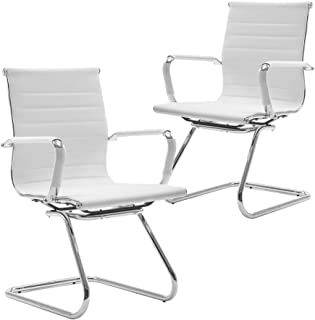 Wahson Heavy Duty Leather Office Guest Chair Mid Back Sled Reception Conference Room Chairs, Set of 2 (Pure White)