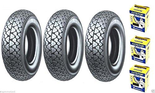 Trois pneus Pneu Michelin s83 3.50 10 59J + chambre à air pour piaggio pX 150