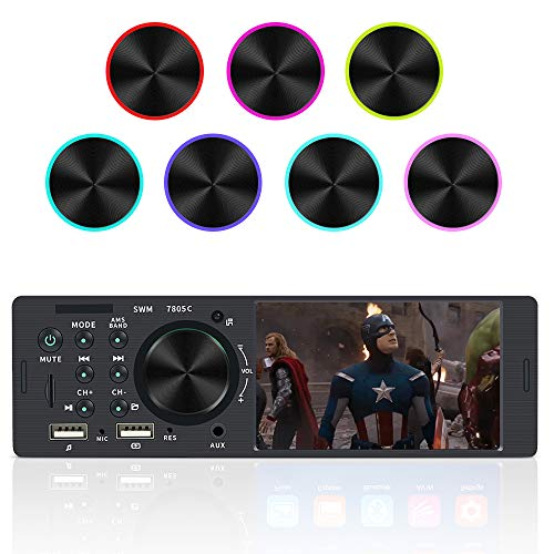 bedee Autoradio mit Bluetooth Freisprecheinrichtung, 1 Din Bluetooth Autoradio mit 7 Farben Licht Einstellbar, 4.1