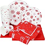 Galashield Christmas Disposable Dinnerware Set Supplies for 20 Guests Includes Paper Plates, Cups, Napkins,...