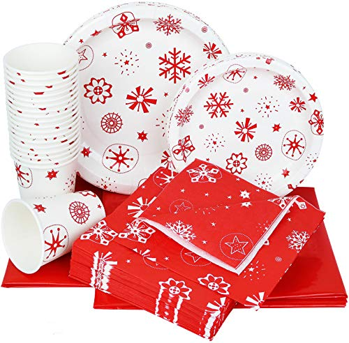 Galashield Christmas Disposable Dinnerware Set Supplies for 20 Guests Includes Paper Plates, Cups, Napkins and Tablecloths