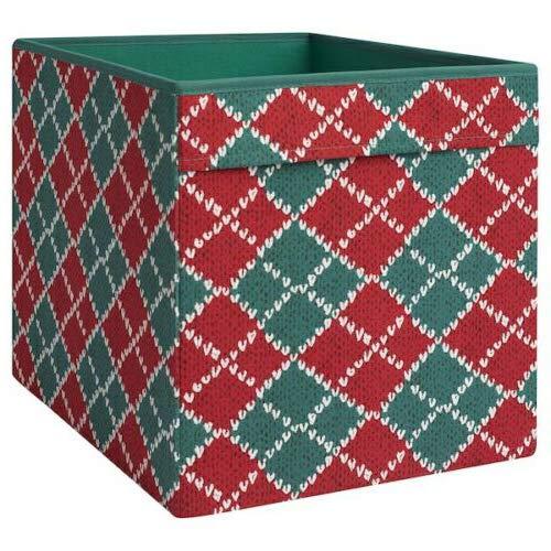 IKEA Dröna Aufbewahrungsbox für Kallax Regale Box Fach Kiste 33x38x33 cm (Gemustert Rot Grün)