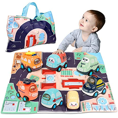 Baby Toy Cars for 1 Year Old Boy   7 Set Push and Go Vehicles Friction Powered Cars Toy with Play Mat/Storage Bag for Toddlers   Early Educational Toys and Birthday Gift for 1 2 3 Years Old Boys Girls