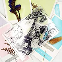Tower Bicycle Butterfly Transparent Clear Stamp/Silicone Seal Roller DIY Album Card