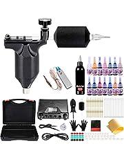 Moricher Kit de tatuaje, Tattoo Kit, kit completo de pistola de tatuaje 1 máquina de tatuaje rotativa profesional 15 tintas 20 agujas Fuente de alimentación Caja