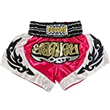 FLUORY Kids Muay Thai Shorts Children Boxing Fighting Shorts for Boys and Girls (MTSF57ROSE Pink, XS)
