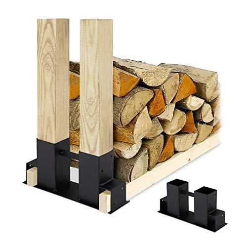 Relaxdays Holzstapelhilfe 2er Set, DIY Holzunterstand für Kanthölzer, Holzaufbewahrung, beschichteter Stahl, schwarz, 16 x 34 x 10 cm