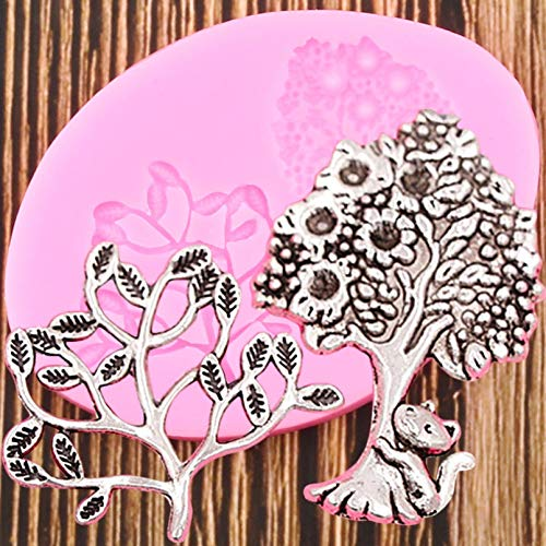 GEYKY Life Tree Silicone Molds 3D Flower Leaf Cat Mould Cake Decorating Tools Clay Candy Chocolate Gumpaste Moulds