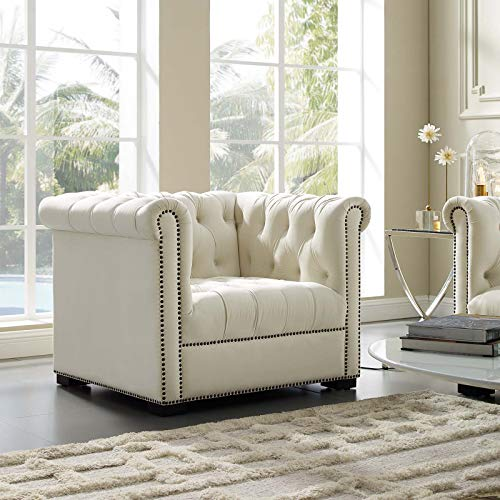 Modway Heritage Tufted Velvet Modern Chesterfield Lounge Accent Arm Chair with Nailhead Trim In Ivory
