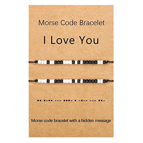 BMMYE 2-Piece Morse Code Bracelets I Love You Couple Bracelets Handmade...