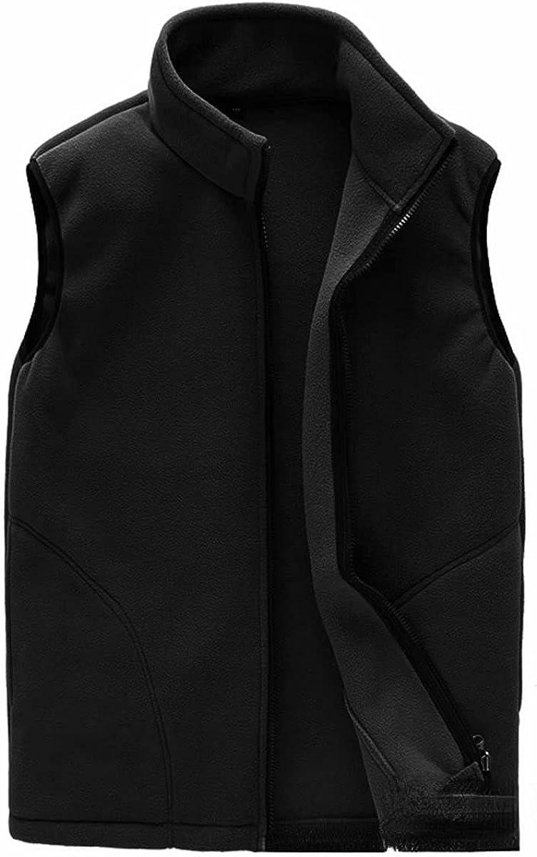 Polar Fleece Sports Vest Mens High Collar Solid Waistcoat Warm Sleeveless Zipper Jacket Coat with Pockets