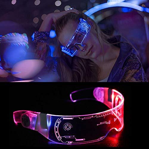 Gafas de sol futuristas Cyberpunk, con alambre neón, con luces LED, unisex, para Navidad, Halloween, fiesta, bar, baile y escenario