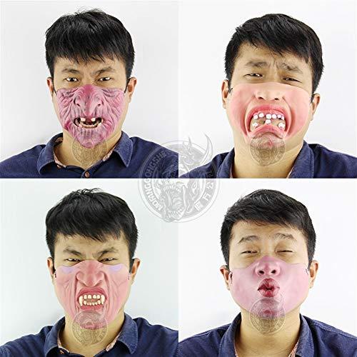 MYASOB Kostüm Kopf Maske Funny halbe Gesichtsmaske Weihnachten Halloween Horror Geist Layout-Raum entkommen Maske Haunted House Kleid Scary Maske for Männer Persönlichkeit (Color : Duck Mouth)