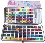 Set de pintura de acuarela sólida portátil Pigmento en polvo perlado de color metálico fluorescente para resina epoxi concentrada kit - niños adultos estudiantes (90)