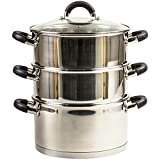 24cm 3 TIER SET STAINLESS STEEL VEGETABLE FOOD STEAMER PAN INDUCTION BASE GLASS VENTED LID STOCKPOT STOCK POT CASSEROLE Y229